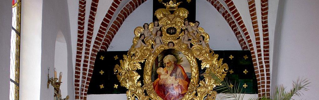 Obraz św. Józefa umieszczony w lewej nawie bocznej